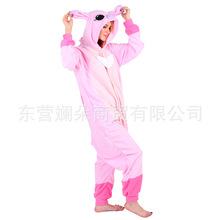 Pajama one piece autumn and winter animal cartoon blue pudding Stephanie fleece couple home clothes