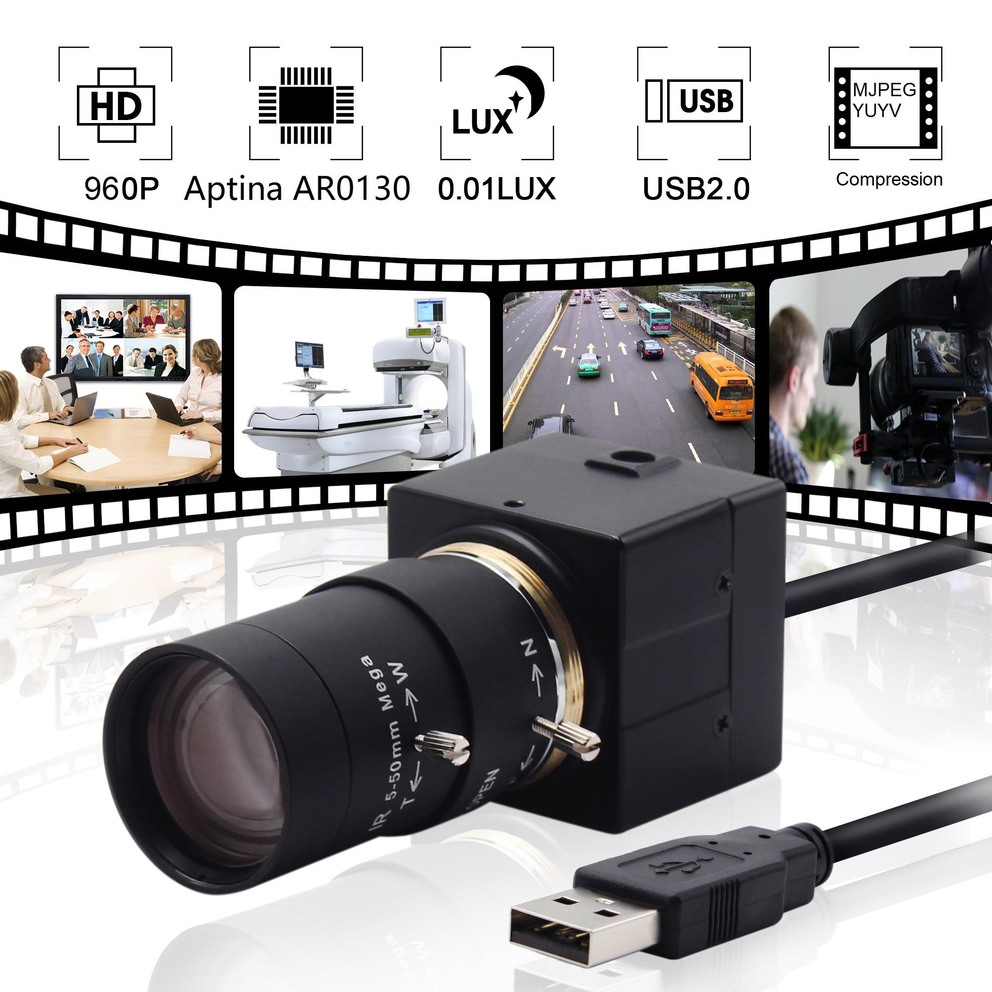 960P AR0130 1/3 CMOS Sensor 0.01Lux Low Illumination Mini USB Camera HD With 2.8-12mm Varifocal Lens For Astronomy Telescope