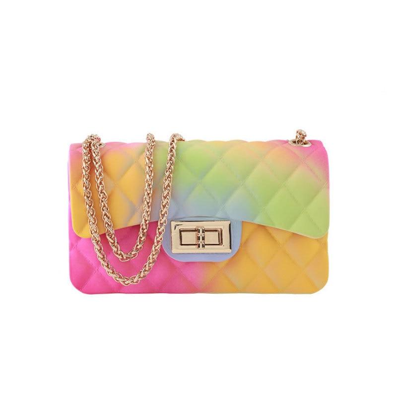 Summer Bag Women For Beach Jelly Purse Gradient Color PVC Transparent Handbag Famous Brand Design
