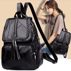 Sac à dos en cuir pour femme sac d'école classique noir imperméable voyage multi-fonction sac à bandoulière