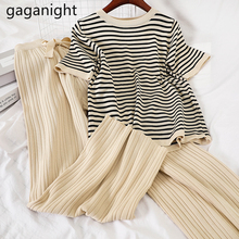 Gaganight Causal Loose Women Two Pieces Set Striped Chic Lady Suit Summer 2 Pieces Set Knitted Stretchy Tshirt Ankle Length Pant cheap REGULAR Ages 18-35 Years Old O-Neck Drawstring Cotton Blends Pullover Casual Short NONE Ankle-Length Pants