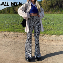 ALLNeon E-girl Aesthetics Zebra Pattern Flare Pants Y2K Fashion Animal Printing High Waist Baggy Trousers 90s Vintage Bottoms