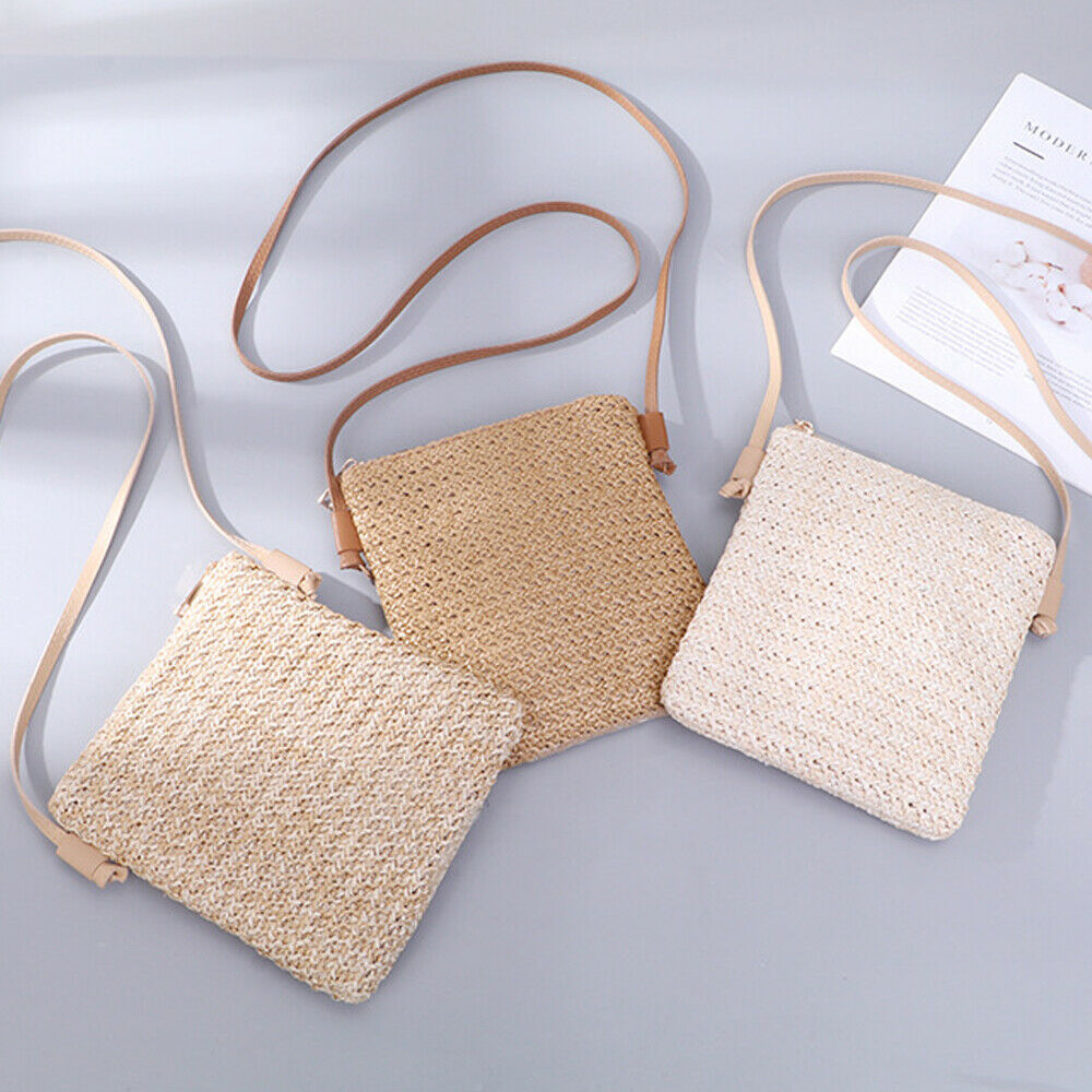 Women's Totes Summer Beach Straw Plait Small Square Zipper Bags One Shoulder Slanted Across Bag Coin Purses