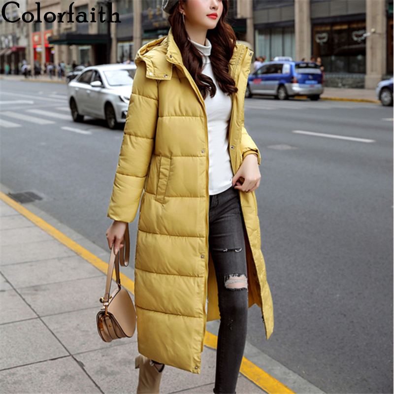 Colorfaith New 2019 Autumn Winter Women   Down   Jacket   Coat   Warm Pockets Quilted   Coat   Long Straight Casual Hooded Puffer JK937