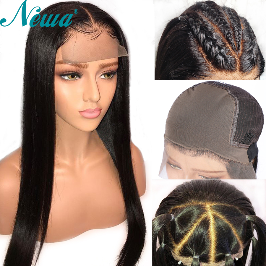Newa Hair Straight Fake Scalp Wig 13x6 Lace Front Human Hair Wigs Pre Plucked With Baby