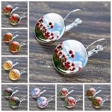 Poppy Flowers Pattern Silver Color Hook Earring Beautiful Poppy Glass Cabochon Fashion Jewelry Pendant Earrings Women Girl Gift