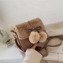 Осенне-зимняя плюшевая маленькая сумка для женщин зимняя новая модная Корейская женская сумка почтальон модная плюшевая маленькая квадратная сумка