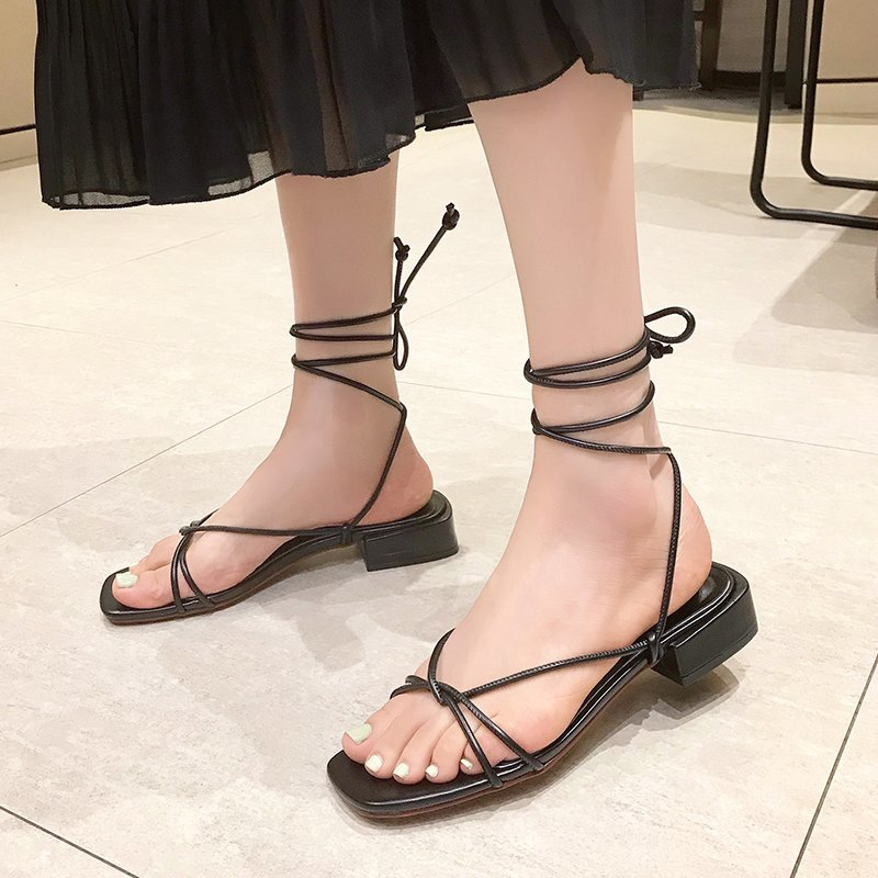 White Strappy Sandals for Women 2020 Summer Shoes Low Square Heels Black Gold Gladiator Sandals Women Casual Narrow Band Sandels