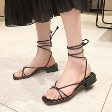 White Strappy Sandals for Women 2020 Summer Shoes Low Square