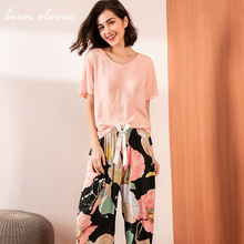 Summer Pajamas Set Women Sleepwear Female Casual Floral Printed Contrasting Color Pyjamas Tops with Long Trousers Lingerie 10pcs