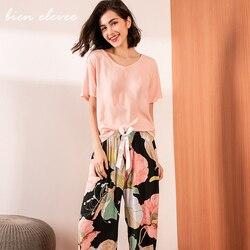 Conjunto de pijamas de verano para mujer, ropa de dormir para mujer, pijama de Sport con estampado Floral, Tops de Color con pantalones largos, ropa de casa