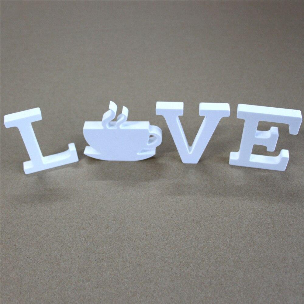 Купить с кэшбэком thick 25mm 1set White Wooden wood Letters LOVE & DIY Personalised Name Design Art Crafts of  Wedding Birthday Party Home Decor