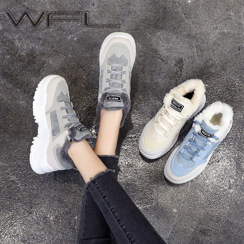 WFL Women Casual Sneakers Anti-slip Comfortable Platform Shoes For Women Dad Footwear Warm Winter Plush Fur Sneakers Lace Up