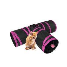 Tunnel pour chat et lapin, 3 trous, jouets pour animaux de compagnie, pliables, interactifs, produits pour chaton