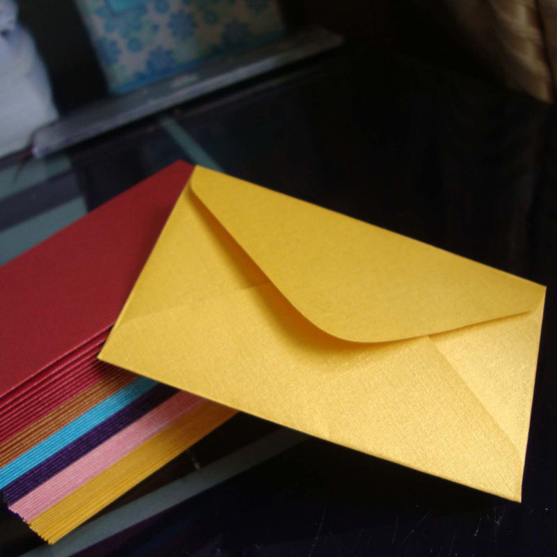 60x100mm New Arrival Gold Metallic Textured Paper MINI Envelopes For Business Card
