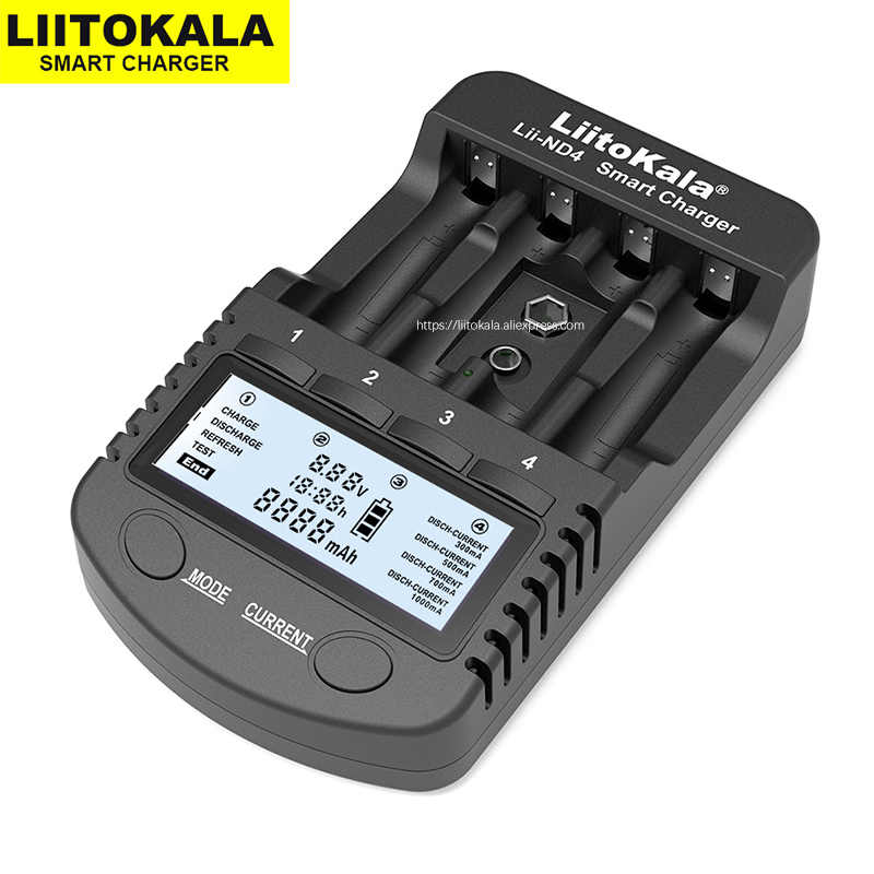 2020 Liitokala Lii-ND4 Nimh/Cd Lader Aa Aaa Lader Lcd Display En Test Batterij Capaciteit Voor 1.2V Aa aaa En 9V Batterijen.