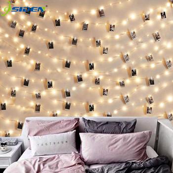 Girlanda żarówkowa LED Lights 2M 5M 10M klips do zdjęć lampki zewnętrzne zasilanie bateryjne Garland świąteczne dekoracje wesele Xmas tanie i dobre opinie OSIDEN CN (pochodzenie) ROHS 3year CHRISTMAS Papier Żarówki LED Brak Klin 6 5inch 6-10m WHITE YELLOW Czerwony FIOLETOWY