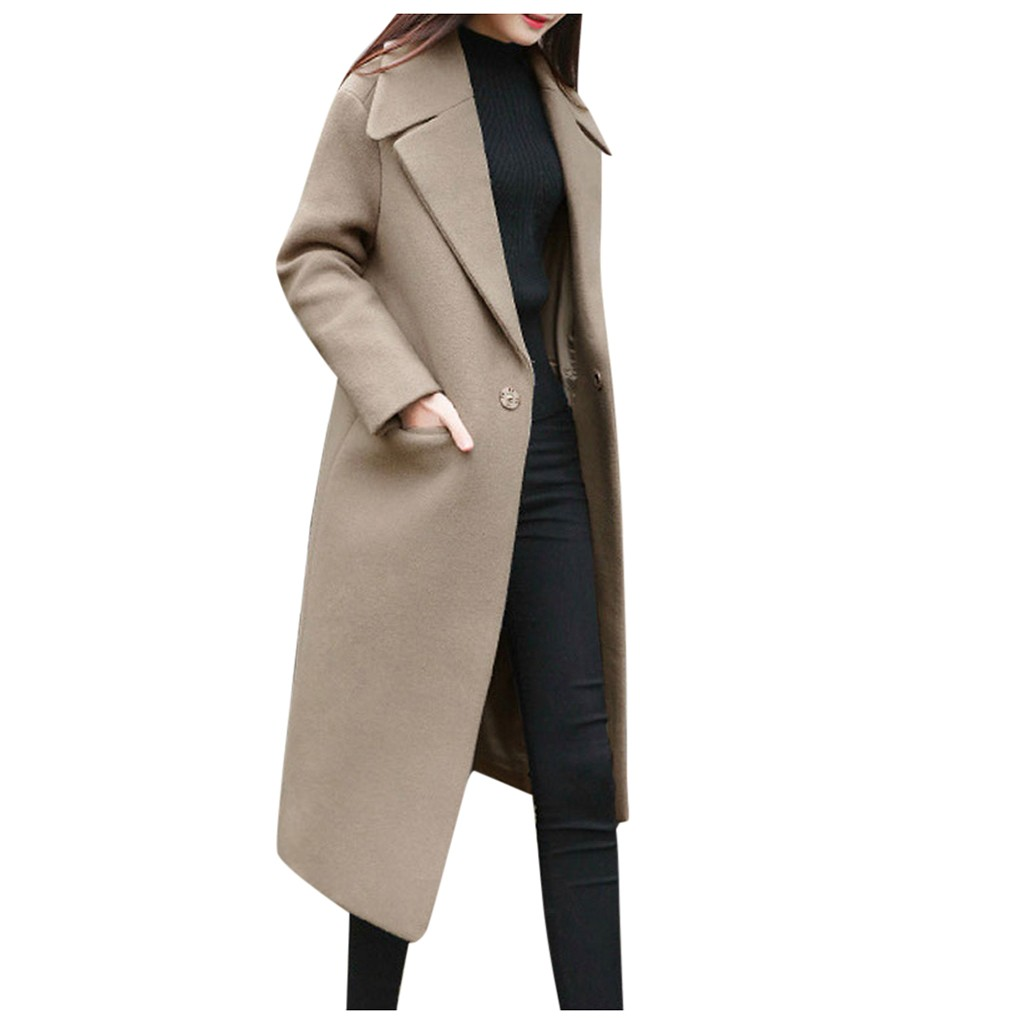 Girl Clothing 2020 Autumn Winter New Products Women Work Solid Vintage Winter Office Long Sleeve Button Woolen Jacket Coat#10