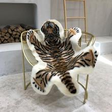 Tiger Print Rug Artificial Tiger Wool Faux Fur Skin Leather Bathroom Anti slip Mat 117x85CM Animal Print Carpet for Home