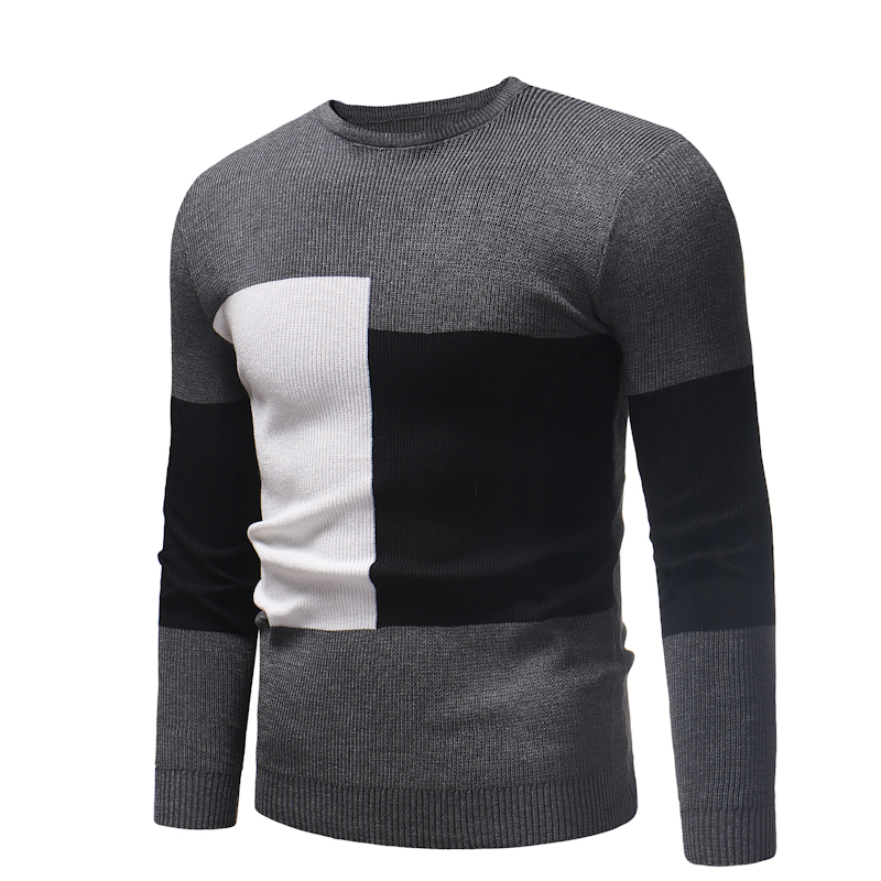 2019 Autumn Winter Sweaters New Thick Warm Round Neck Geometric Patterns Brand Sweaters Men Tops Knitted Cashmere Pullover Men