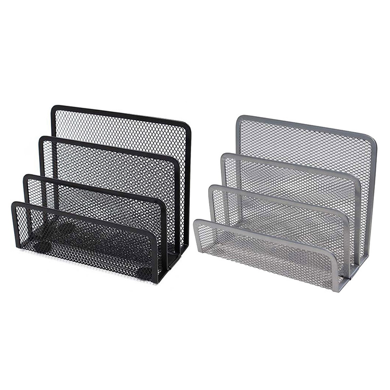Small Letter Sorter Pack Of 2 Desktop File Organizer Metal Mesh Paper Stacking Mail Sorter Holder 3 Slots (1 Black+1 Silver)