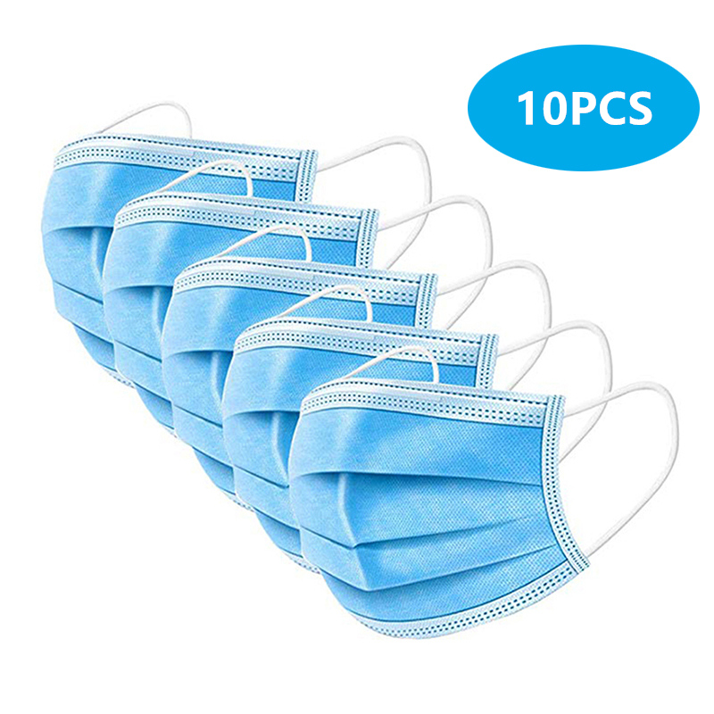 10PCS Protective Masks Anti COVID-19 Anti Virus Bacteria Disposable Masks Dustproof Earloop 3-Ply Non-woven Face Mouth Masks title=
