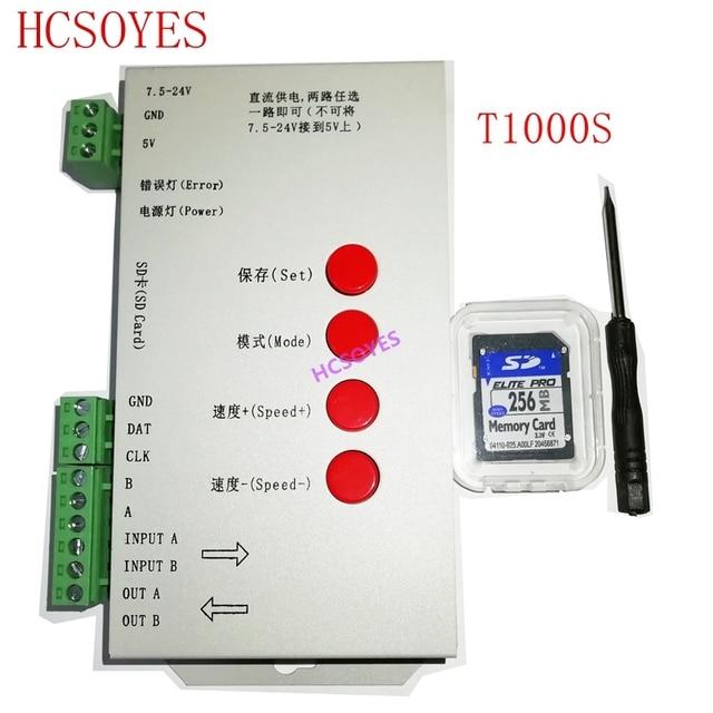 T1000S SD بطاقة APA102 WS2801 WS2811 WS2812B LPD6803 DMX512 LPD8806 LED 2048 بكسل تحكم DC5 ~ 24V T 1000S RGB تحكم