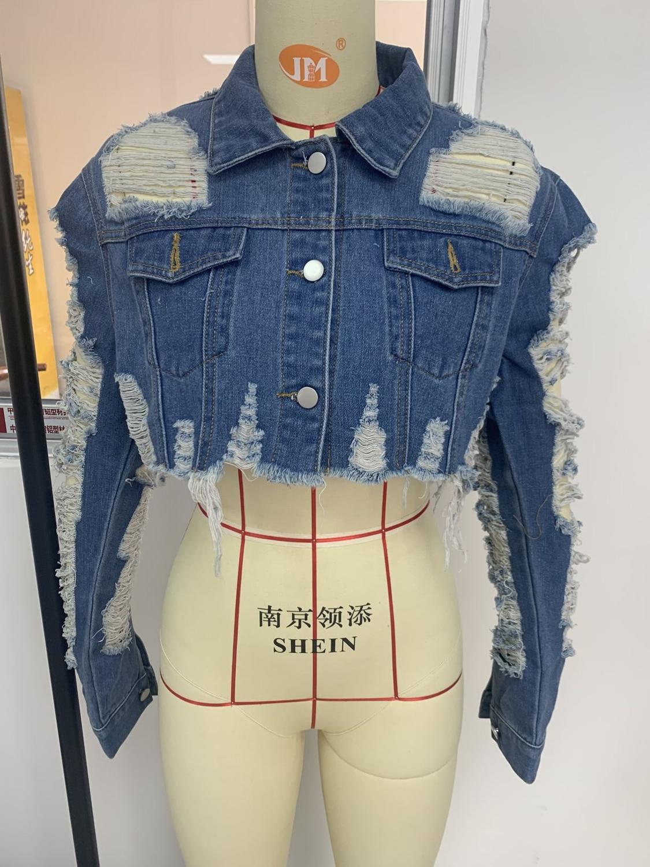 Echoine Turn-down Collar Jean Jacket Vintage Sexy Hole Short Denim Jacket Women Casual Blue Fashionable Women Coats Outwear