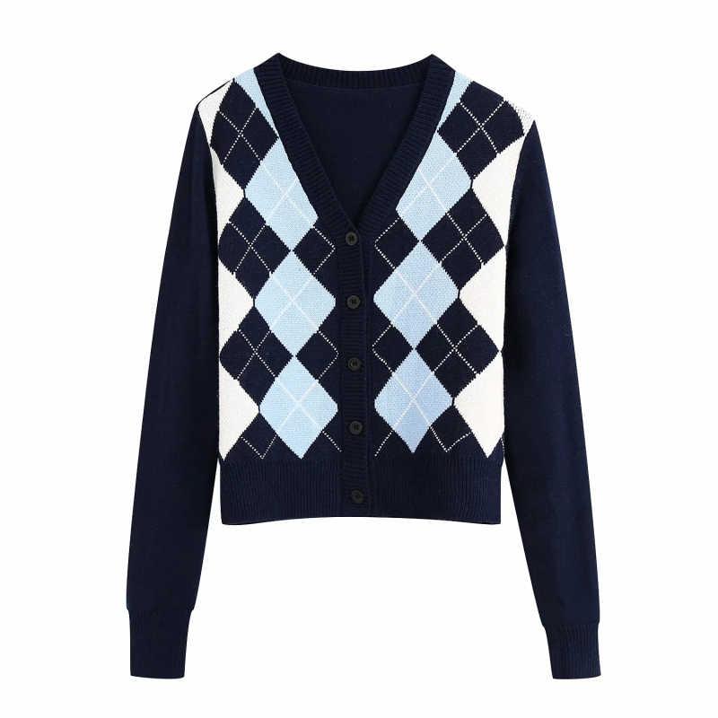 2020 여성 영국 스타일 아가일 대비 색 카디건 빈티지 싱글 브레스트 v 넥 스웨터 여성 칙 점퍼