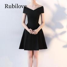 Rubilove Banquet black dress female 2019 new annual meeting temperament ladies small skirt slim slimming short parag