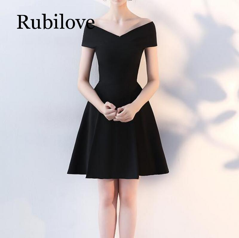 Rubilove Banquet black dress female 2019 new annual meeting temperament ladies small skirt slim slimming short parag