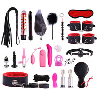 23pcs Sex play set Lots Sex Toys for Women Handcuffs Nipple Clamps Whip Spanking Sex Silicone Metal Anal Plug Butt Bdsm Vibrator