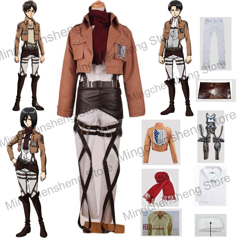 Attack On Titan Cosplay Costume Mikasa Eren Jager Levi Ackerman Rivaille Cosplay Full Set Coat Pants Straps Unisex Costume Adult