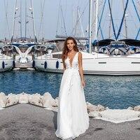 Sexy Chiffon V Neck Wedding Dress Top Lace Applique vestido de noiva boho Custom Made Robe De Mariee A Line Bridal Gowns