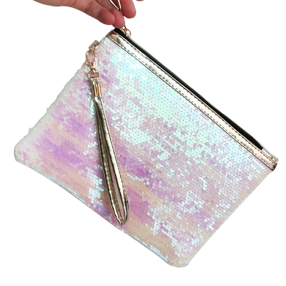 With Handle Travel Cosmetic Pouch Envelope Sequins Organizer Portable Zipper Gift Makeup Bag Purse Fashion Storage