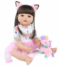 55cm Full Silicone Reborn Baby Doll Toy For Girl Newborn Princess Toddler Alive Babies Bebe Classic Boneca Bathe Toy Child Gift