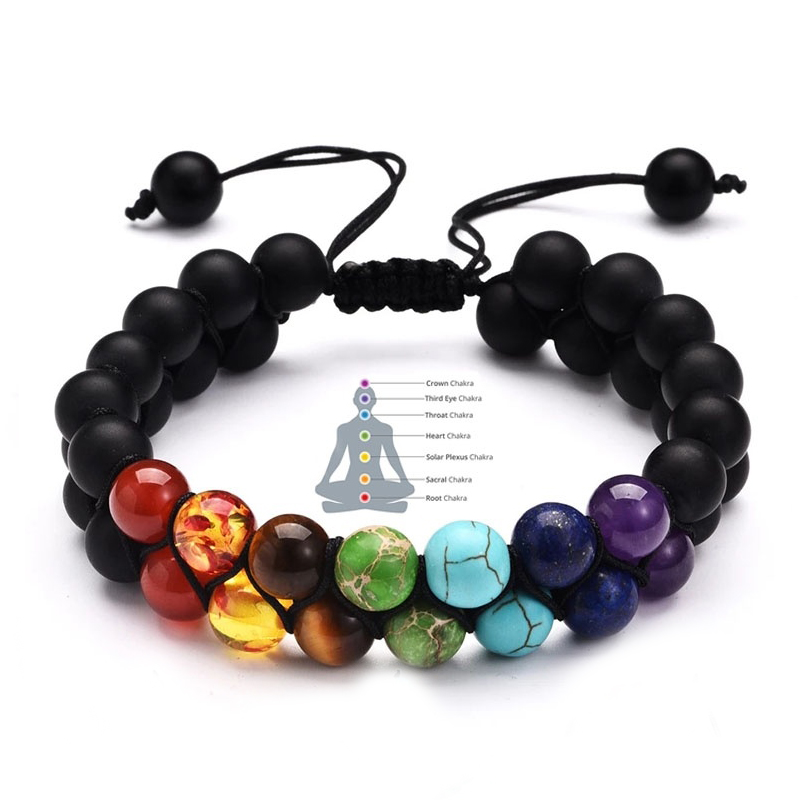 7 Chakra Adjustable 8mm Natural Stone Bracelet Double Woven Rope Chain Yoga Healing Balance Bracelet for Men Women Jewelry Gifts