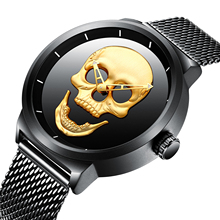 BIDEN Fashion Relogio Masculino Mens Quartz Watch Brand Luxury Golden Skull Dial Stainless Steel Belts Waterproof Orologio Uomo sterile dial 2019 new luxury watch fashion stainless steel watch for man automatic analog wrist watch orologio uomo hot sales