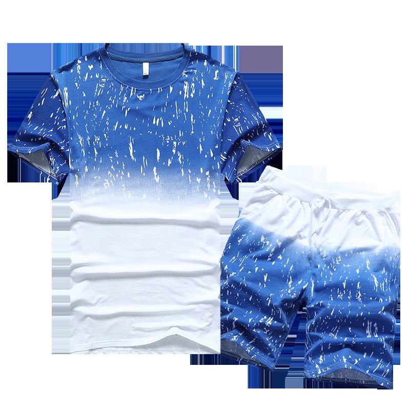 2019 New Style Men's Summer Shorts Thin MEN'S Suit Short Sleeve T-shirt Men Youth Homewear Set