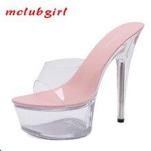 Platform Slippers Wedding-Shoes Stiletto High-Heel Transparent Sexy Mclubgirl Super-15cm