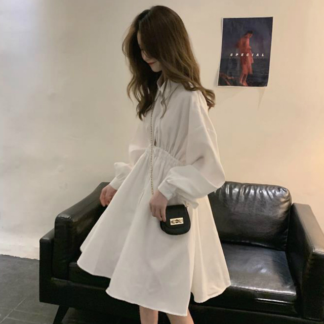 Woman Dress Long Sleeve Preppy Style Solid Sweet undefined Dresses Simple Elegant Pleated Japanese Students Womens Streetwear 5