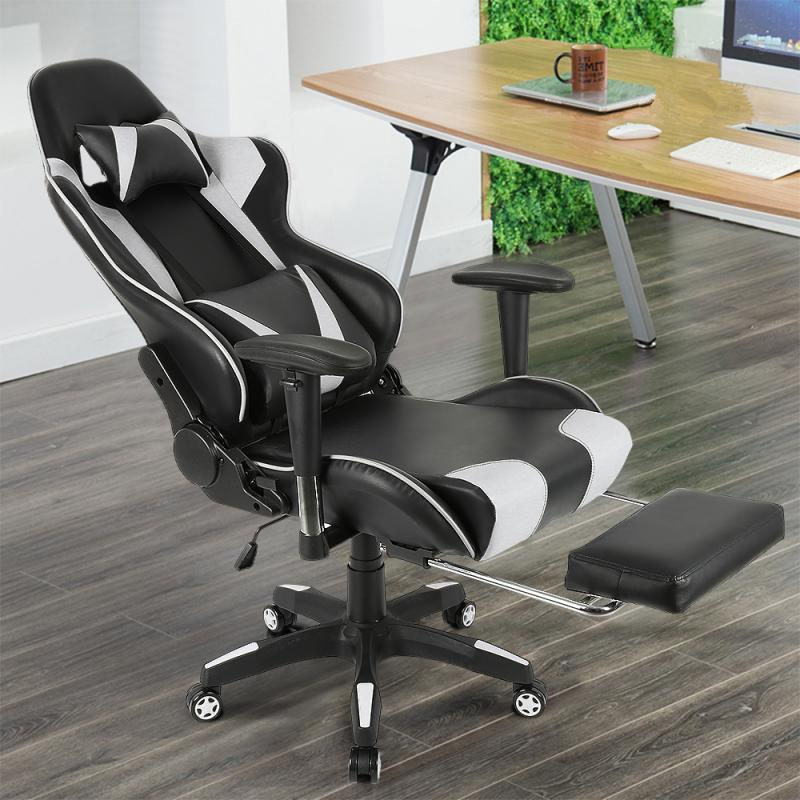 Computer Seating Adjustable Backrest Gaming Chair Lifting Armrests Headrest Lumbar Pillow Footrest For Study Office Chaise HWC