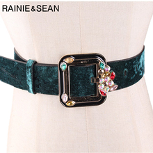 RAINIE SEAN Diamond Leather Belts for Women Green Velvet Vintage Pin Buckle Square Brand Ladies Accessories
