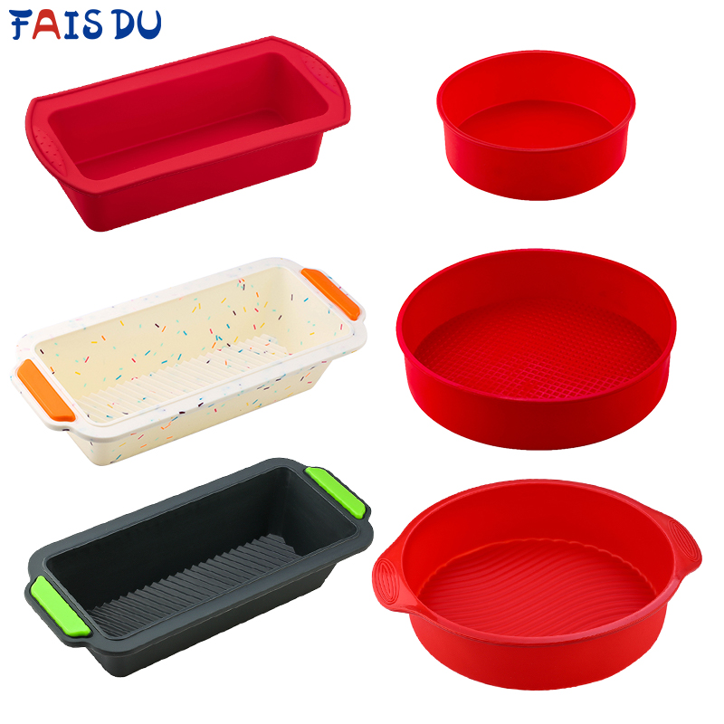 Silicone Round Rectangular Mold Set Silicone Cake Toast Bread Tray Mold Non-stick Color Random Baking Tools