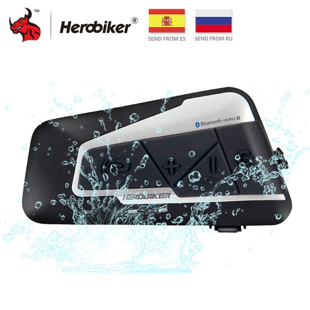 HEROBIKER, 1200 м, Bluetooth, домофон, мотоциклетный шлем, Переговорная гарнитура, водонепроницаемая, беспроводная, Bluetooth, мото гарнитура, домофон