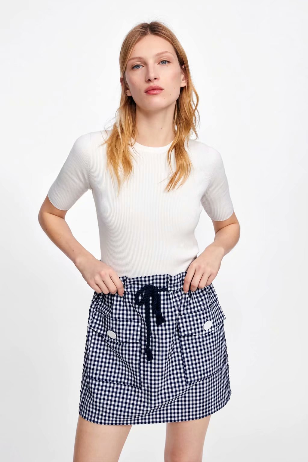 Western Style 2019 Summer New Style WOMEN'S Dress Retro Bud Waist High Waist Drawstring Pattern Mini Skirt Plaid Skirt Short Ski
