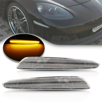 2Pcs Front Amber Led Side Marker Lamp for Chevrolet Corvette C6 2005-2013 Clear Lens Side Turn Signal Auto Lamp