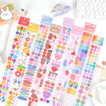 Mohamm 2 Sheets Long PVC and Paper Tape Rainbow Candy Flower Cute Face Stationary School Supplies Decoration 1