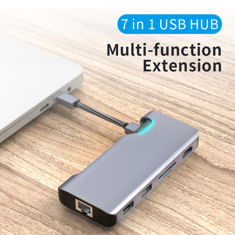 <font><b>USB</b></font> C <font><b>Hub</b></font> Type C To 1080P <font><b>HDMI</b></font> <font><b>VGA</b></font> Multi <font><b>USB</b></font> <font><b>3.0</b></font> <font><b>HUB</b></font> Type-c To <font><b>RJ45</b></font>/SD/TF Adapter For Macbook Huawei Dell <font><b>USB</b></font> C Docking image