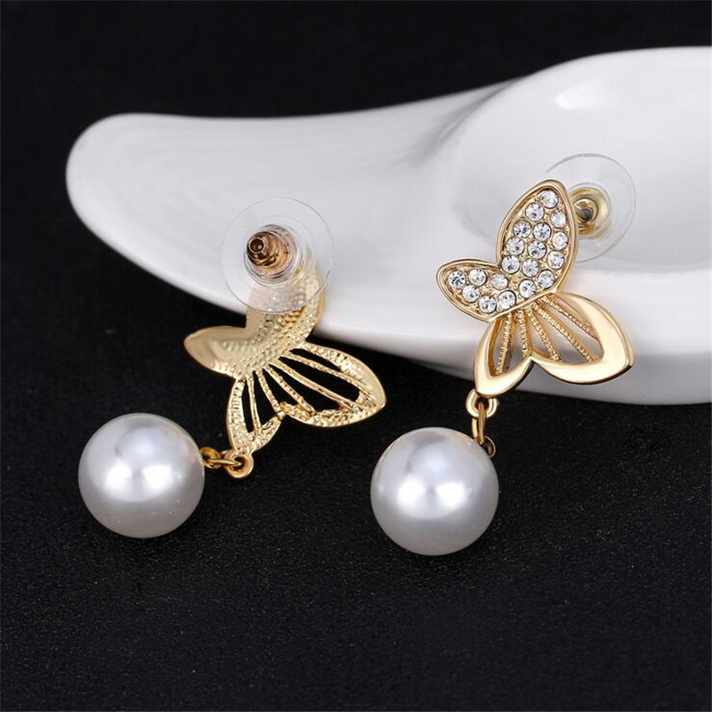 new fashion butterfly crystal earrings for women personality kc gold color pearl dangle earrings statement wedding jewelry gifts in Drop Earrings from Jewelry Accessories